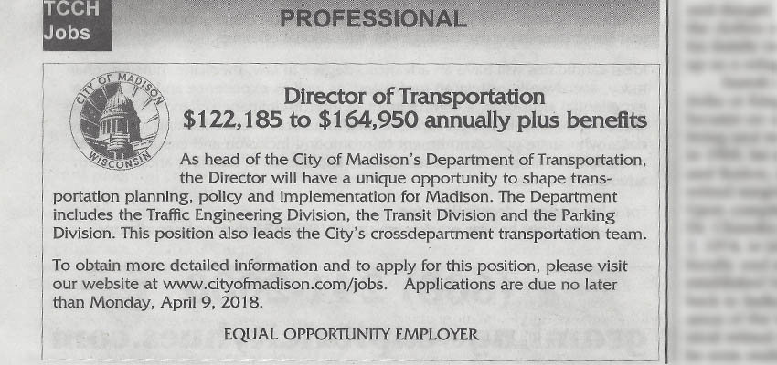 "Madison Offers Over $164k For ""Director of Transportation"""