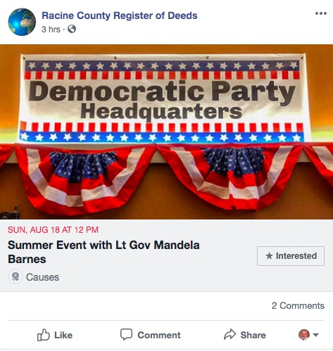 Racine Register of Deeds Caught Promoting Democratic Event on Government Social Media Page